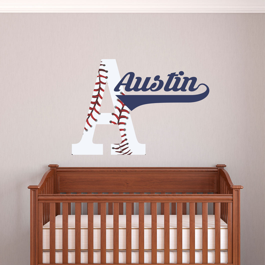 Personalized Name and Initial Baseball Wall Decal