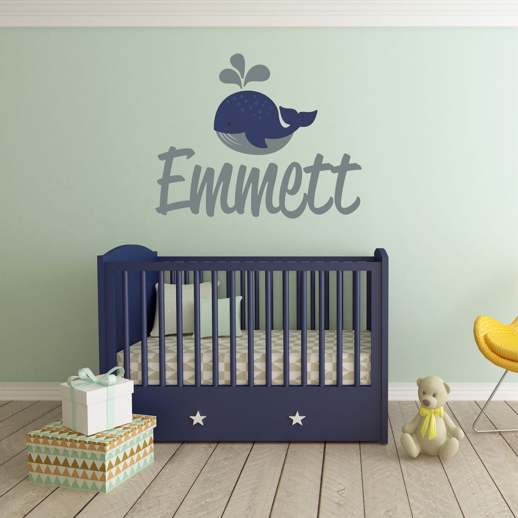 Personalized Name Whale Wall Decal