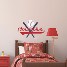 Load image into Gallery viewer, Personalized Name Bats and Ball Wall Decal