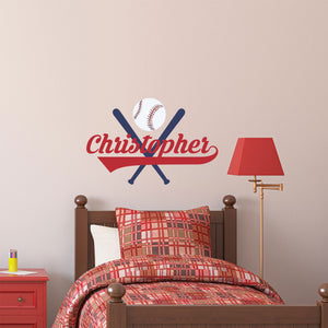 Personalized Name Bats and Ball Wall Decal
