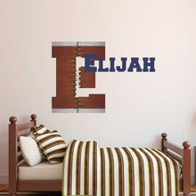 Load image into Gallery viewer, Personalized Name and Initial Football Wall Decal