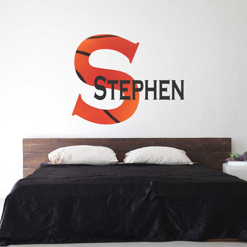Personalized Name and Basketball Initial Wall Decal