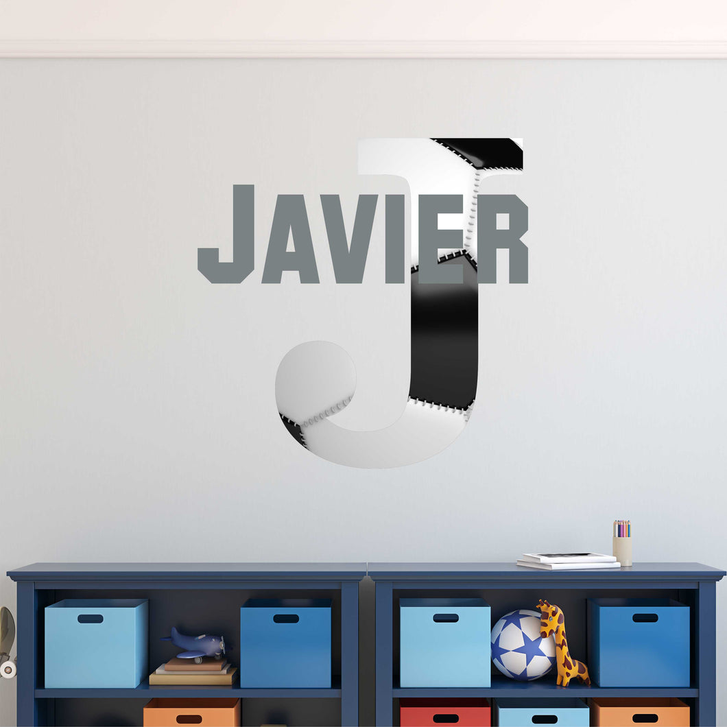 Personalized Name and Soccer Initial Wall Decal