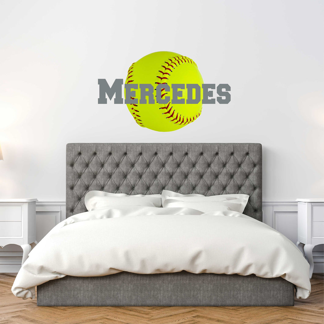 Personalized Name Softball Wall Decal