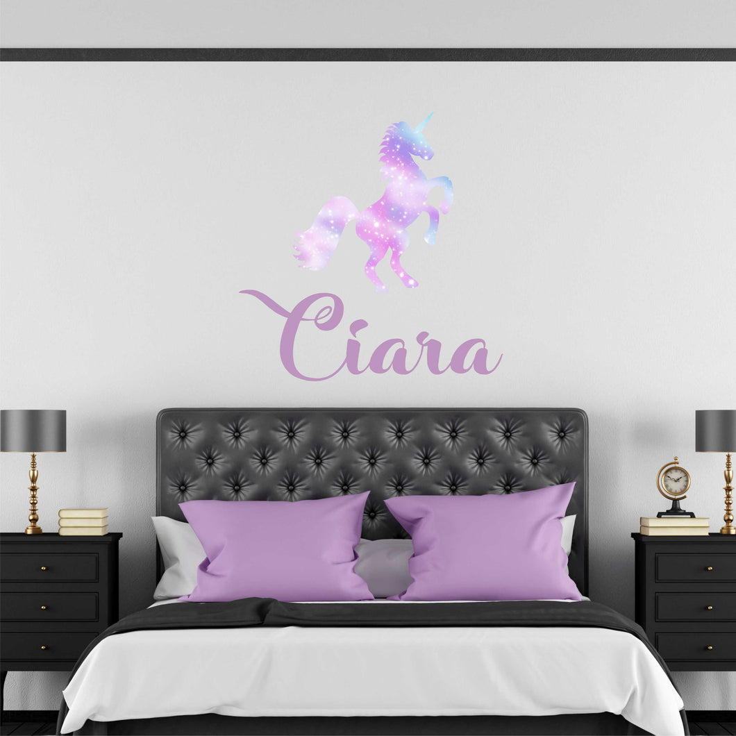 Personalized Name Galaxy Unicorn Wall Decal