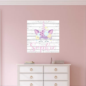 Personalized Name & Unicorn on ShipLap Wall Decal