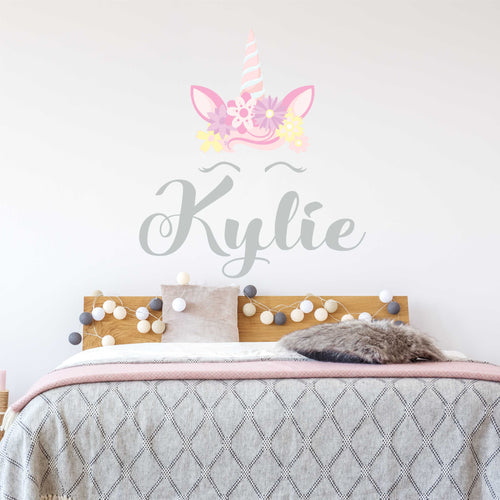 Personalized Name Flower Crown Unicorn Wall Decal