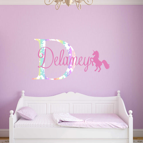 Personalized Name Unicorn Wall Decal