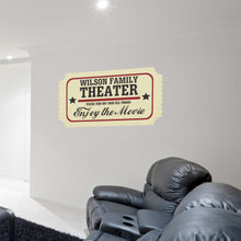 Load image into Gallery viewer, Personalized Movie Ticket Family Theater Decal
