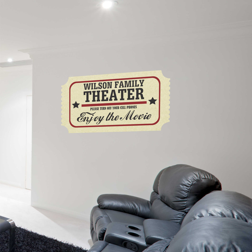Personalized Movie Ticket Family Theater Decal