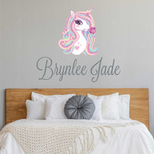 Load image into Gallery viewer, Personalized Name Unicorn Wall Decal