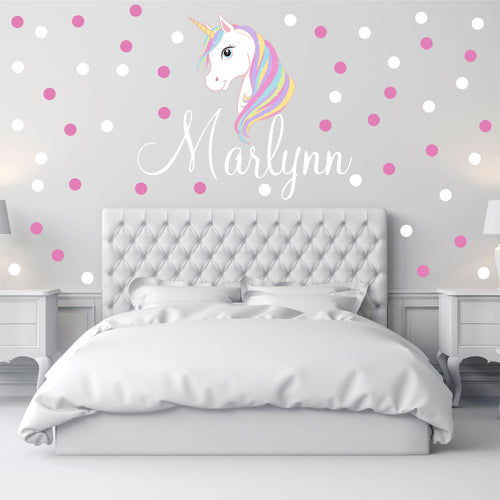 Personalized Name White Unicorn Wall Decal