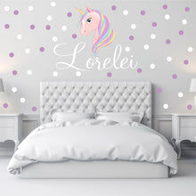 Load image into Gallery viewer, Personalized Name Pink Unicorn Wall Decal