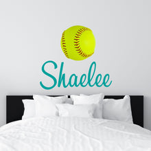 Load image into Gallery viewer, Personalized Name Softball Wall Decal