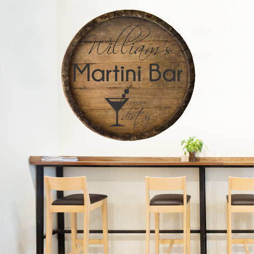 Personalized Martini Bar Wall Decal