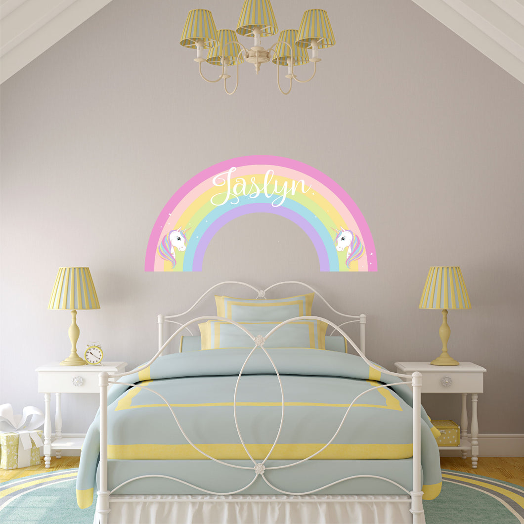 Personalized Name Rainbow w/ Unicorns Wall Decal