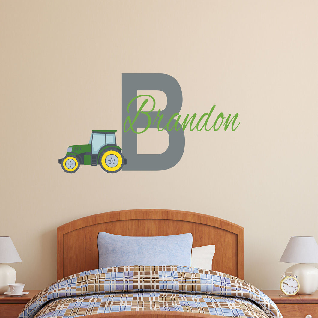 Personalized Name Farm Tractor Wall Decal