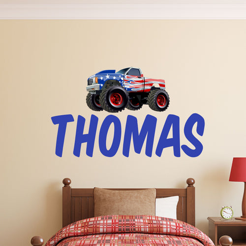 Personalized Name Monster Truck Wall Decal