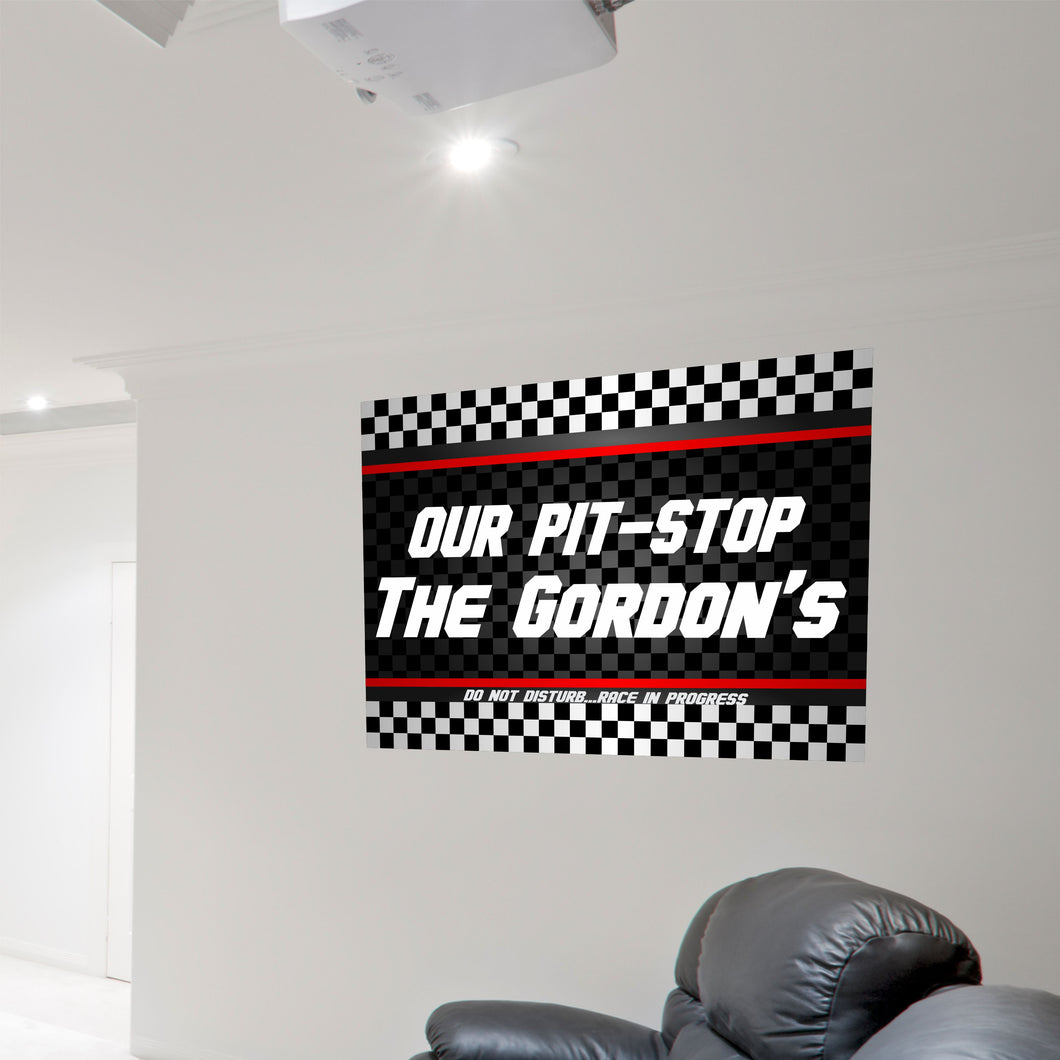 Personalized Our Pit Stop Wall Decal