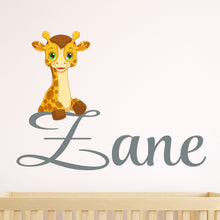 Load image into Gallery viewer, Personalized Name Giraffe Wall Decal