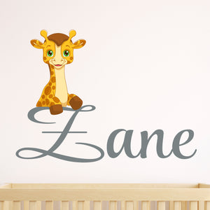Personalized Name Giraffe Wall Decal