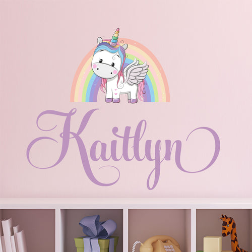 Personalized Name Unicorn Rainbow Wall Decal