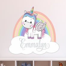Load image into Gallery viewer, Personalized Name Rainbow Unicorn Wall Decal