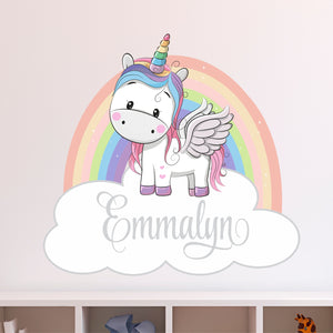 Personalized Name Rainbow Unicorn Wall Decal