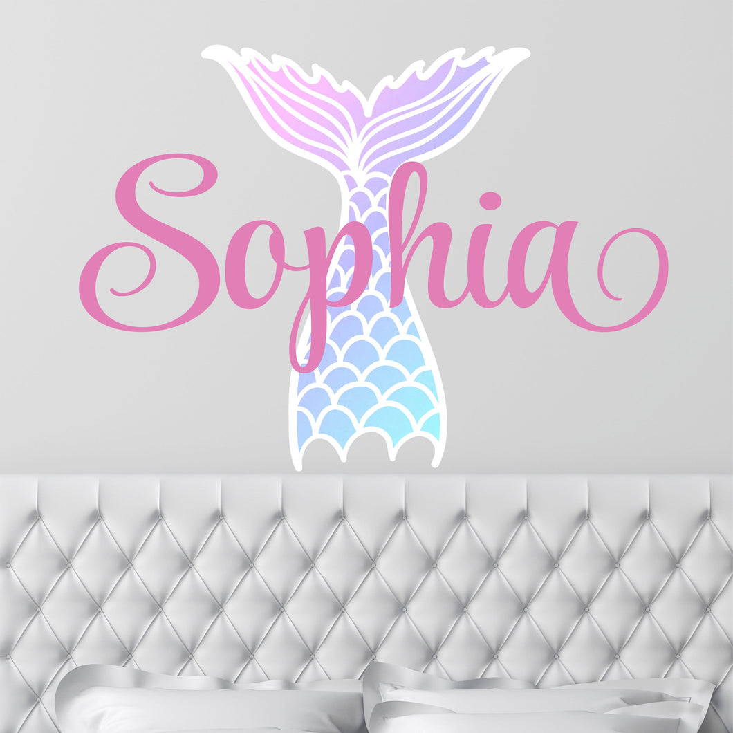 Personalized Name Mermaid Tail Wall Decal