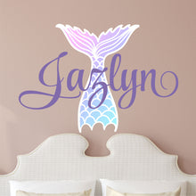 Load image into Gallery viewer, Personalized Name Mermaid Tail Wall Decal