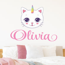 Load image into Gallery viewer, Personalized Name Unicorn Kitty Cat Wall Decal