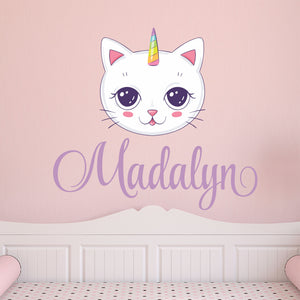 Personalized Name Unicorn Kitty Cat Wall Decal