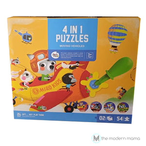 4 in 1 Puzzle - Moving Vehicles by Joan Miro ( Art Play Think ) 3 yrs+