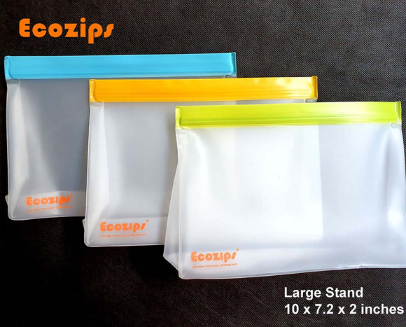 Ecozips Large Stand Reusable Storage Bag 3 pack
