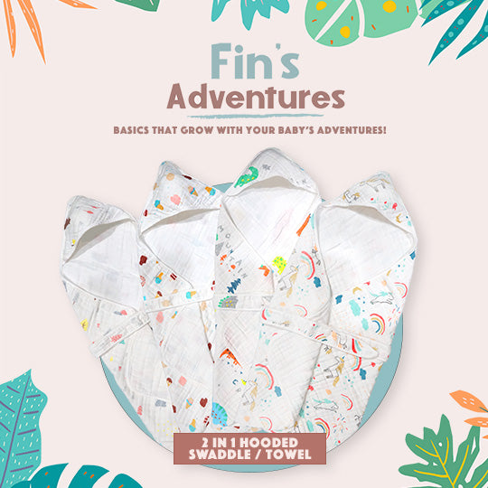 Fin's Adventures 2 in 1 Muslin Hooded Towel Swaddle