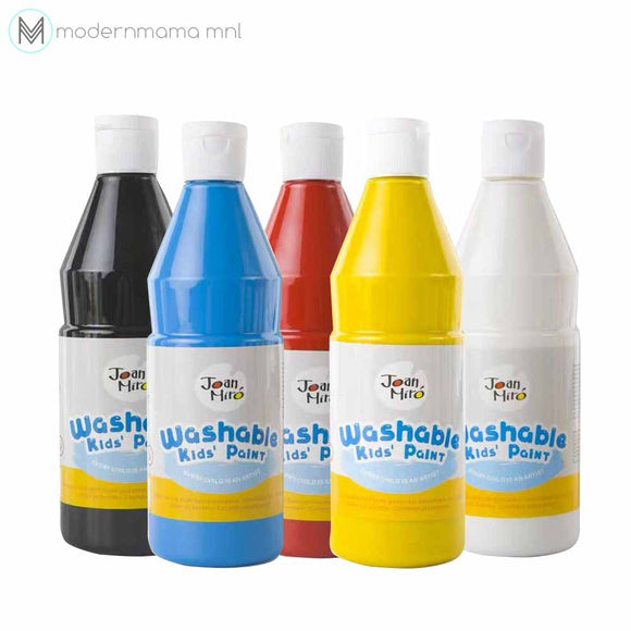 Joan Miro Washable 5 Color Paint 500mL Set (Red, Yellow, Blue, Black and White)