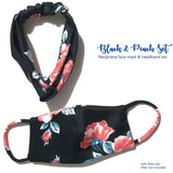 Ladies Washable Face Mask & Headband with filter slot Floral Designs