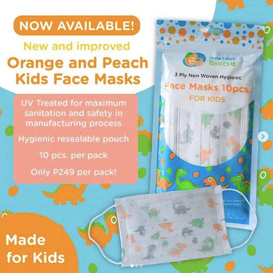 Orange and Peach New Kid's Face Mask Pack of 10