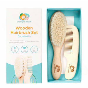 Orange and Peach Wooden Hairbrush Set with Comb