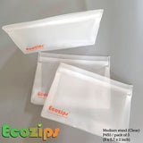 Ecozips Clear Stand 3 pack Reusable Storage Bag ( Small Set, Medium Set, Large Set)