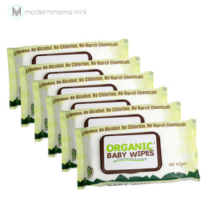 Organic Baby Wipes 80s WITH CAP by Little Green (Pack of 6)