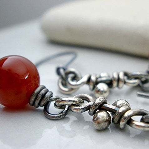 Carnelian & sterling silver knot earrings