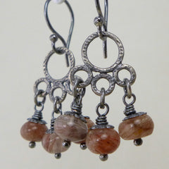 Rust quartz rustic silver earrings