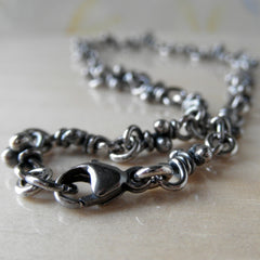 Nudos knots silver bracelet, dark finish