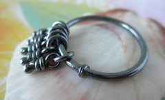 Knots Sterling Silver Oxidized Rustic Ring. Size 7.25