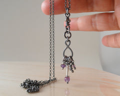Story Sterling Silver Amethyst Pendant Rustic Oxidized Organic Necklace