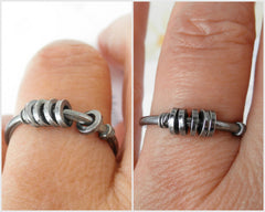 Sisters sterling silver oxidized fun ring.