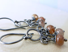 Rutilated quartz rustic darken sterling silver earrings. Stones chandelier