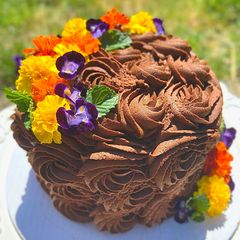 Gluten-Free Two Layer Chocolate Buttercream Whole Rosette Cake with Fresh Flowers