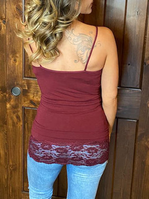 Lux Long Burgundy Cami with Lace Trim